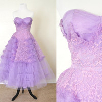 1950s Party Dress Lilac Purple Cupcake Style Lace and Tulle