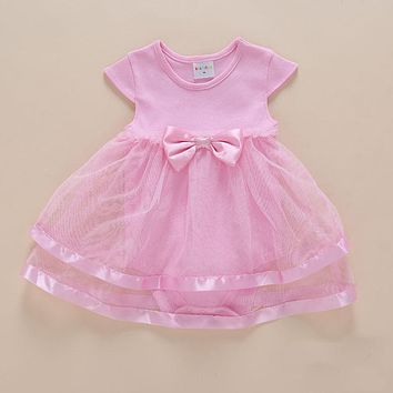 Keelorn Baby Girl Dress 2017 New Baby Summer Dress Bow decoration Sweet cute Princess Dress Baby Girls Birthday Dress