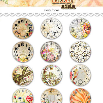 "Digital vintage safari travel clocks watch faces collage sheet  / 2"" diameter circles / downloadable / printable / altered art"