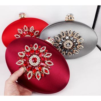 Fashion round oval shape satin with crystals clutch with chain shoulder