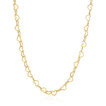 Full Hearted - Adorable 14k Yellow Gold Heart Link Necklace