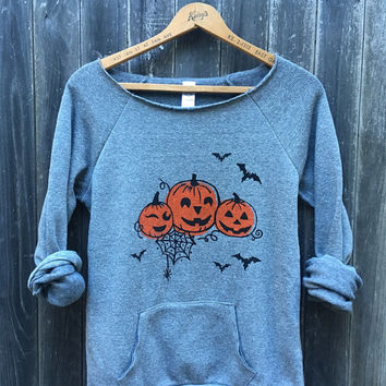 Halloween Sweater, Pumpkin Sweater, Bat Shirt, Trick or Treat Top, Autumn Shirt, S,M,L,XL,2XL