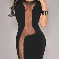 Black Mesh Bodycon Sleeveless Dress