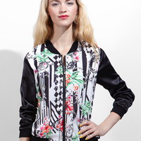 Flower Line Bomber Jacket