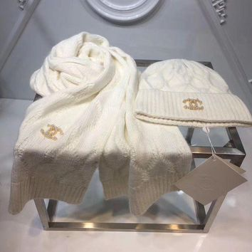 CHANEL Fashion Casual Women Beanies Winter Knit Hat Cap Cape Scarf Scarves Set Two-Piece White G