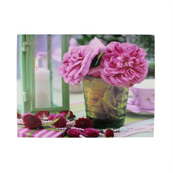 """LED Lighted Flickering Candle and Pink Rose Flowers Glass Candles Canvas Wall Art 11.75"""" x 15.75"""""""