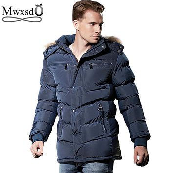 Mwxsd brand winter Men casual Parkas Hooded Cotton Thick Long Warm Mens Jacket Male warm long Coat Men Bomber Jacket Outwear