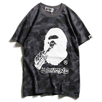 Bape Aape X  Coca-Cola Trending Women Men Loose Camouflage Comfortable Short Sleeve Lovers T-Shirt Top Black I12098-1