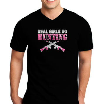 Real Girls Go Hunting Adult Dark V-Neck T-Shirt