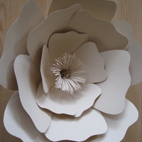 Beige Paper Flower,Big Paper Rose,Beige Rose,Beige Wall Flower,Giant Rose,Floral Wall Decor,Wall Paper Rose,Paper Wedding Decor,Large Flower