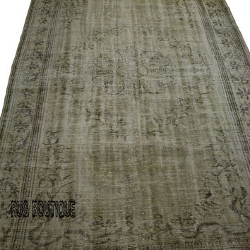 Handmade Turkish Carpet Beige  - Vintage Turkish Rug- (197 X 297 cm)(6,4 ft X 9,7 ft)