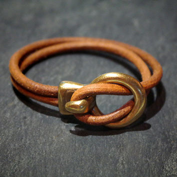 Brown Leather Cuff Bracelet / Hook Bracelet / Genuine Leather / Leather Bangle / Silver Hook Clasp / Womens Bracelet / Gift / Xmas / For Her