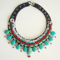 Handmade Authentic Fabric Necklace, Turquoise  necklace, Collar necklace, colorful collar necklace, gift for her