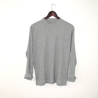 90s grunge mock neck shirt minimalist vintage heather grey ribbed turtle neck pull over medium