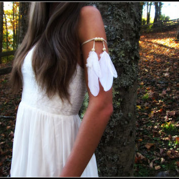 White, Feather, Armband,  boho, bohemian, style, upper, arm,  indian, Feathers, band, Wedding, free people, tribal, bridal, armlet, bone