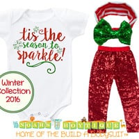 Baby Toddler Girl Christmas Outfit Sparkle Red Sequins Bow