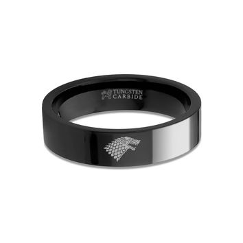 Game of Thrones House Stark Direwolf Sigil Black Tungsten Ring