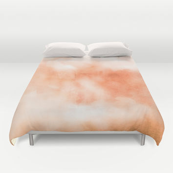 Coral peach orange pastel ikat watercolor hipster watercolour boho chic tie dye  Duvet Cover by IGalaxy