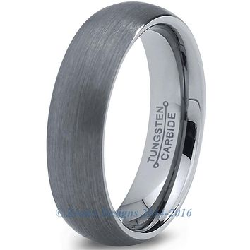 6mm Brushed Silver Dome Cut Tungsten