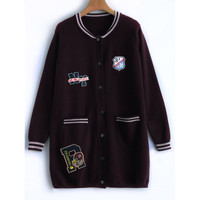 Badge Applique Knit Woolen Overcoat