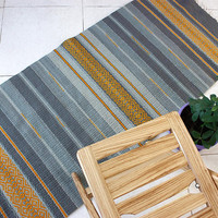 Gray striped wool rug with yellow motifs, handwoven boho rug in gray and yellow, unique kilim rug
