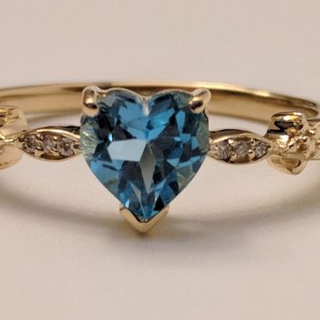 Blue Topaz Heart Ring with Twinkling Diamonds in 14K Yellow Gold