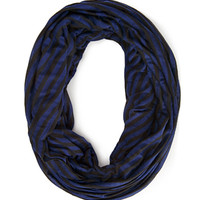 FOREVER 21 Striped Infinity Scarf Black/Navy One
