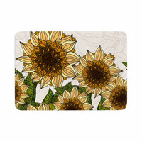 "Art Love Passion ""Sunflower Field"" Beige Yellow Memory Foam Bath Mat"