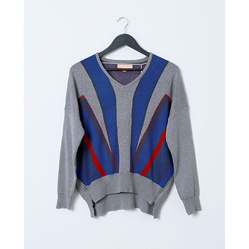 Stella Sweater Top - Gray Print