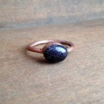 Blue Goldstone Ring - Tiny Ring - Raw Stone Ring - Copper Ring - Semiprecious Stone Ring - SIZE 8