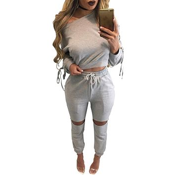 Solid One Shoulder Crop Top with Hole Skinny Pants Two Pieces Set
