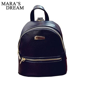 Mara's Dream 2018 New Women's Backpacks Brand Design Fashion Black High Quality Leather Backpack Travel For School Bags Teenage