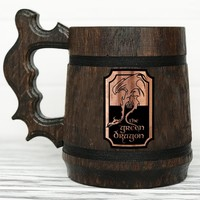 Green Dragon Mug. Personalized Mug. Lord of the Rings Gift. Custom Mug. Hobbit Mug. The Green Dragon Pub Inspired Tankard. Custom Beer Steins. LOTR Gift. Beer Tankard #94 / 0.6L / 22 ounces