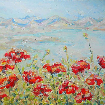 Original Impasto Oil Painting Custom Order Poppies near sea Landscape Coast Contemporary Art Still Life Flowers Wall Decor Nature Picture