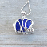 Sea Glass  Elephant Necklace Locket Frosted Cobalt Blue