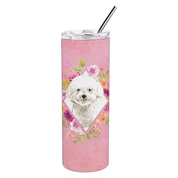 Bichon Frise Pink Flowers Double Walled Stainless Steel 20 oz Skinny Tumbler CK4263TBL20