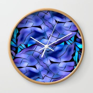Keviones blues Wall Clock by violajohnsonriley
