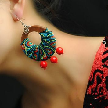 Women's Earrings Ethnic Wood Jewelry Red Coral Beads Colored Embroidery