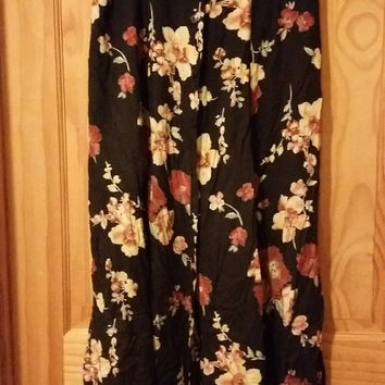 Vintage 90s Grunge Floral Long Black Button Front Skirt Size L