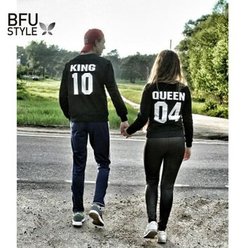 2018 Lovers Print King Queen Hoodie Fashion Casual Couple Hoodies King Queen Pullover Bts Women Tracksuit Harajuku Sweatshirts