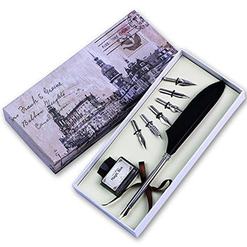 Feather Quill Pen Set, Luxury Antique Writing Quill Pen (silver)