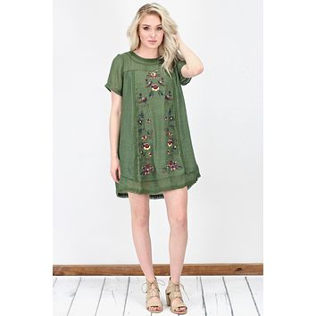 Fall Time Favorite Embroidery Dress {Olive}