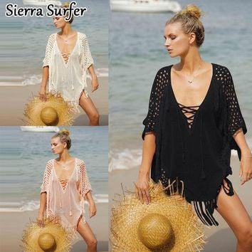 Summer Beach Dress Cover Up Saida De Women's 2018 Lace Out Of Dresses And Tunic New Knitting Beach Bikinis Smock Female Swimsuit