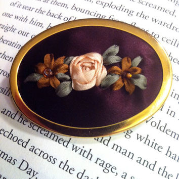 Beaded Rose Brooch  Silk Ribbon Embroidery by BeanTownEmbroidery