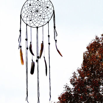 Brown dream catcher wall decoration cream, brown, american native dreamcatcher, wall hanging, boho, large, bedroom