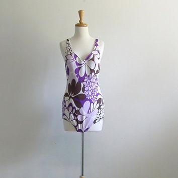 Floral Swimsuit / 70s swimwear / maillot / one by roguegirlvintage
