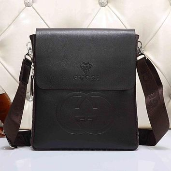 Boys & Men GUCCI Men Leather Office Bag Satchel Shoulder Bag Crossbody