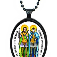 St Sergius & St Bacchus Patrons of Homosexuality Huge Black Pendant