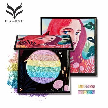 Huamianli Halloween Eyeshadow Palette Rainbow Highlighter Blusher Glow Kit Prism Shimmer Color MakeUp Beauty Eye shadow Cosmetic