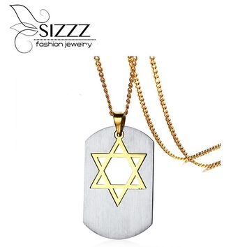 SIZZZ 2017 Fashion Gold Plating Chain Vintage Stainless Steel Six Star Pendants For Men